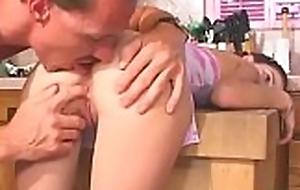 Cute legal age teenager gives simmering oral-stimulation and gets one as well as the other holes stuffed