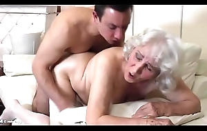Granny with hairy snatch having sexual connection with old bean