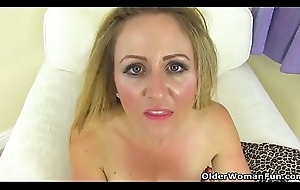 English milf Caz fingers her arse while toying hobo