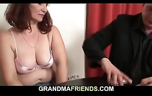 Aged granny loses corps poker and fucked
