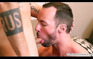 Tattooed hunk slamming tight ass bareback