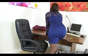 British milf Danielle wears her blue underwear of a wrangle