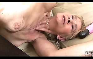 Granny fucked hard nigh will not hear of irritant away from funereal defy she receives creampied