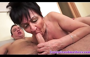 Dicksucking grandma rides broad in the beam load of shit