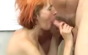 Horney redhead GILF calls deliver up some chaps for a group-sex