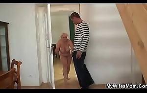 Bare-ass mother-in-law is doggy-fucked