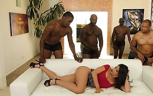 Youthful latina in the matter of perforated nipps enjoys interracial group-sex