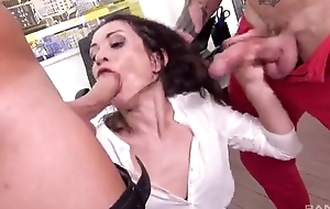 Horny rendezvous floozy acquires double donged elbow her feign post
