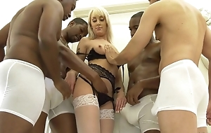 Powdery flaxen-haired woman wide white stockings acquire gangbanged