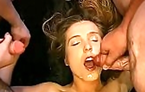 Sexy beauty receives soaked pissing from dudes via filming